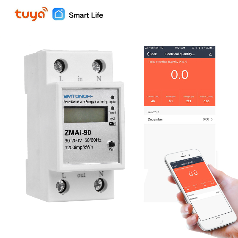 Smart Life/tuya APP Single Phase Din Rail WIFI Smart Energy Meter Power Consumption KWh Meter Wattmeter 220V,110V AC 50Hz/60hz