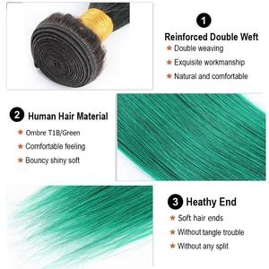 Image 5 - Cabello MOGUL Ombre 1B rojo azul verde púrpura extensiones de cabello recto cabello brasileño 1 Uds Remy cabello humano extensión 12 26 pulgadas