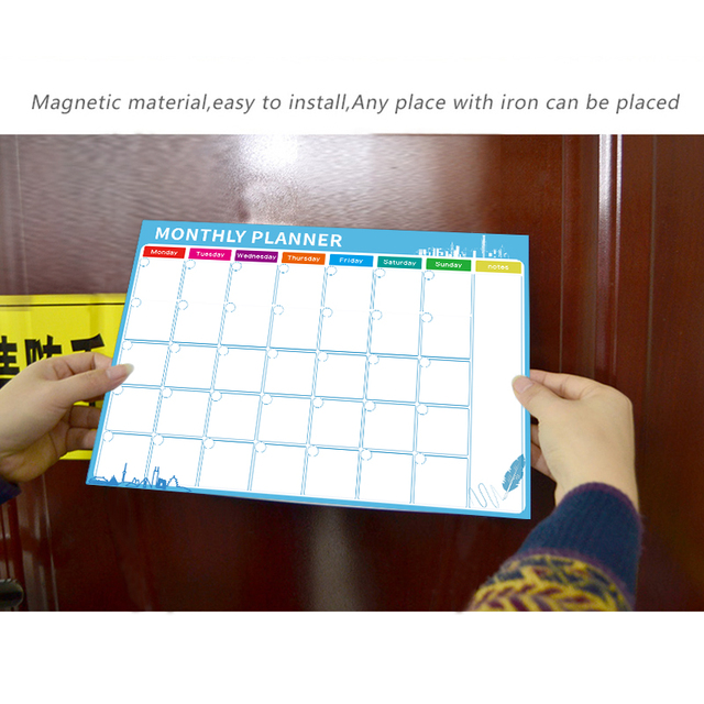 Magnetic Whiteboard Dry Erase Board Magnets Fridge Refrigerator To-Do List Monthly Daily Planner 2019 Organizer for Kitchen 4