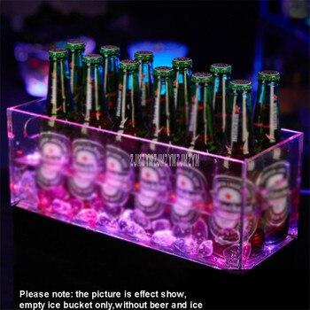 40x15cm 12 Lattice LED Lighting Ice Barrel Transparent Acrylic Champagne Beer Ice Bucket Luminescent For Night Club Bar KTV