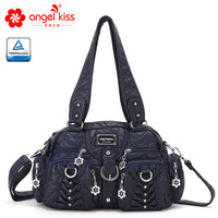 Angelkiss Fashion Women Washed PU Leather Handbags Female Tender Large Capacity Shoulder Bag Purse Tote Bags for Women