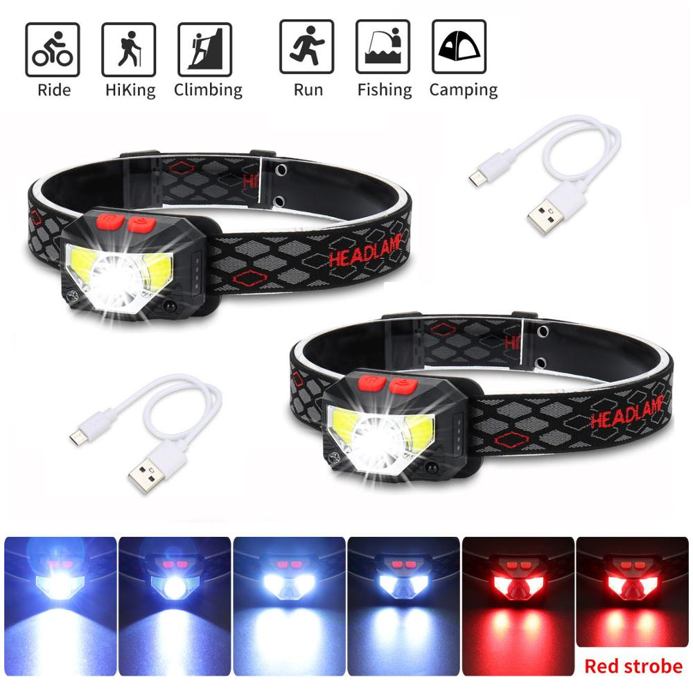 2PCS LED Headlamp Rechargeable Motion Sensor Head Lamp Built-in BatteryWith USB Hands Free Headlight For Fishing Inspection