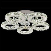 Современный хрустальный светодиодный потолочный светильник K9 из нержавеющей стали с 3/5 кольцами, плафон для кухни, столовой, светильник, светильники