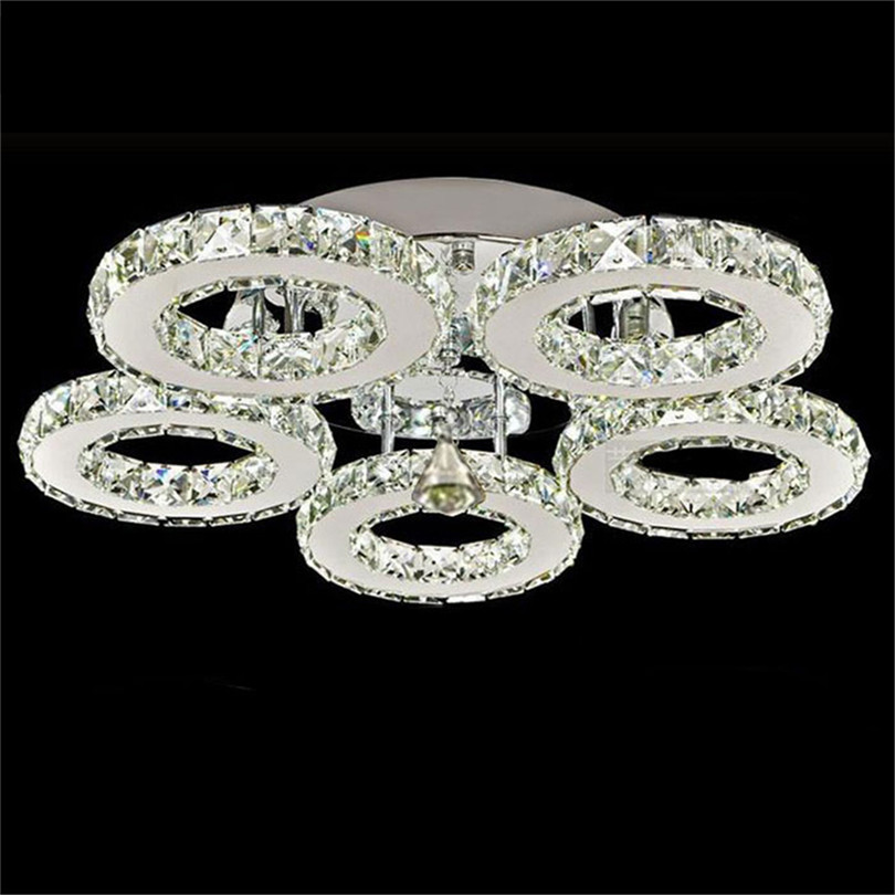 Modern K9 Crystal LED Ceiling Lights Stainless Steel 3/5 Rings Lusters Plafond For Kitchen Dinning Room Luminaire Light Fixtures