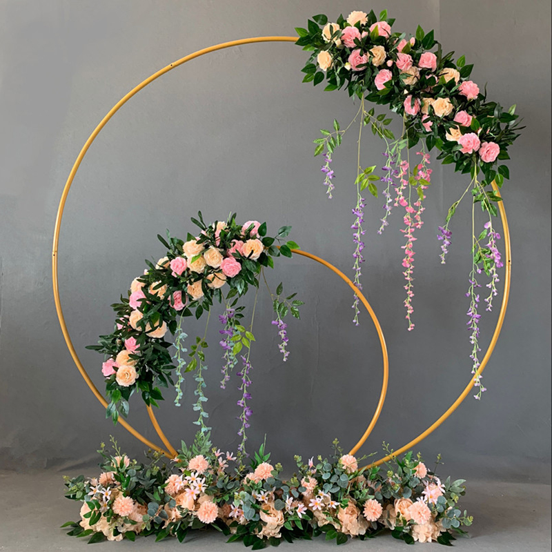 Wedding Decor Props Metal Circle Frame Backdrop Decor Wedding Arch Wrought Iron Shelf  DIY Party Decoration Round Flower Stand