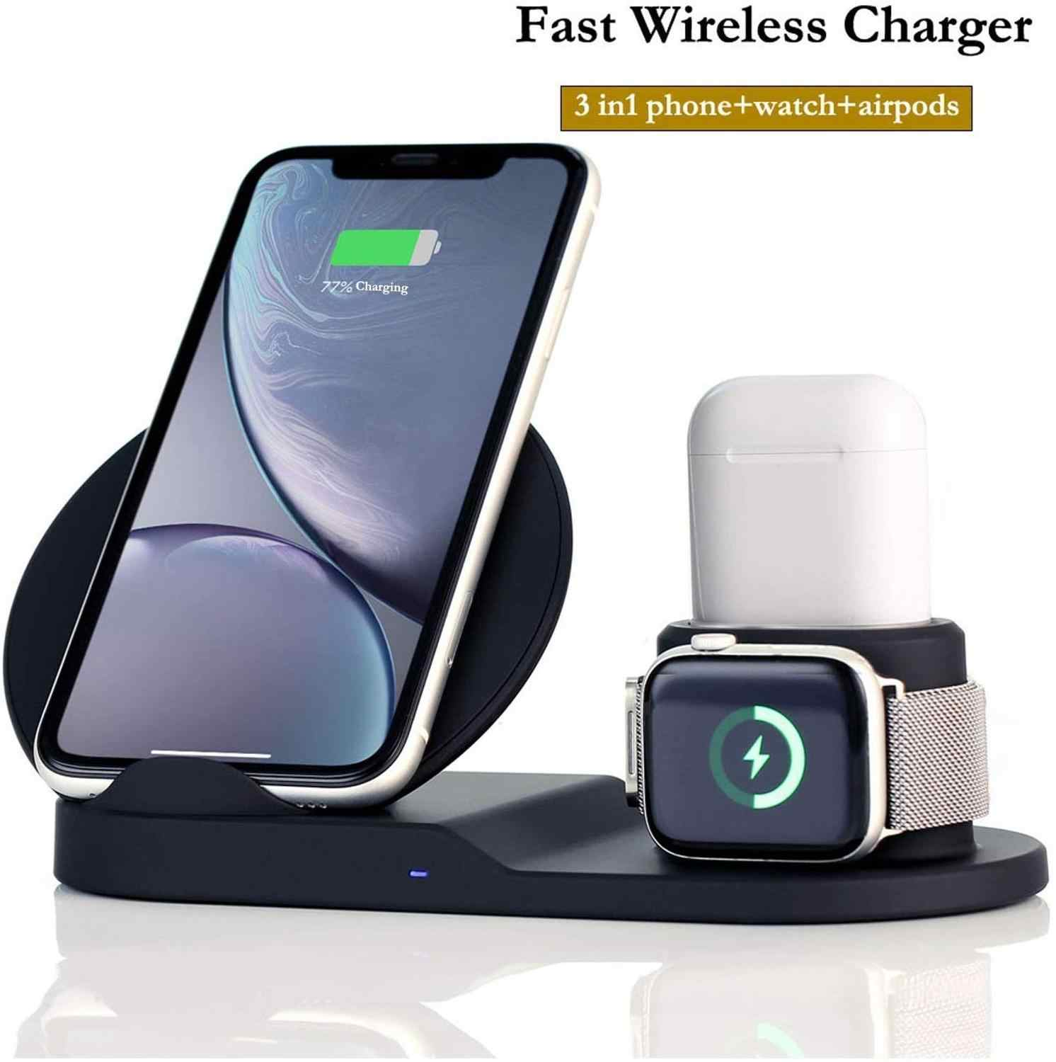 Craze 10W 3 in 1 Fast Wireless Charger Base Dock Station For iPhone XR XS Max 8 Quick Charging for Apple Watch 2 3 4 AirPods