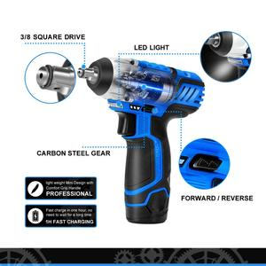 Image 3 - 12V Electric Wrench Cordless 3/8 Inch 2000mAh Battery with Led Light Car Repair Tool by PROSTORMER