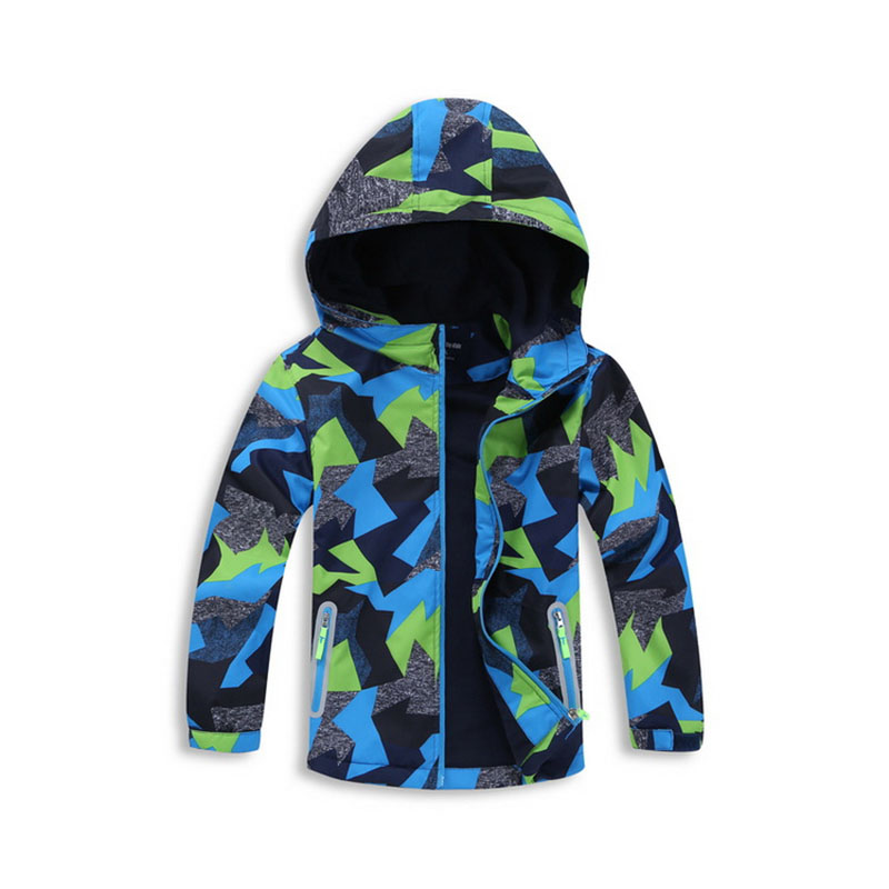 Clearance Boys Spring Autumn Jacket Camouflage Printed Fleece Lining Casual Coat Hooded Windbreakers Water-resistant Streetwear