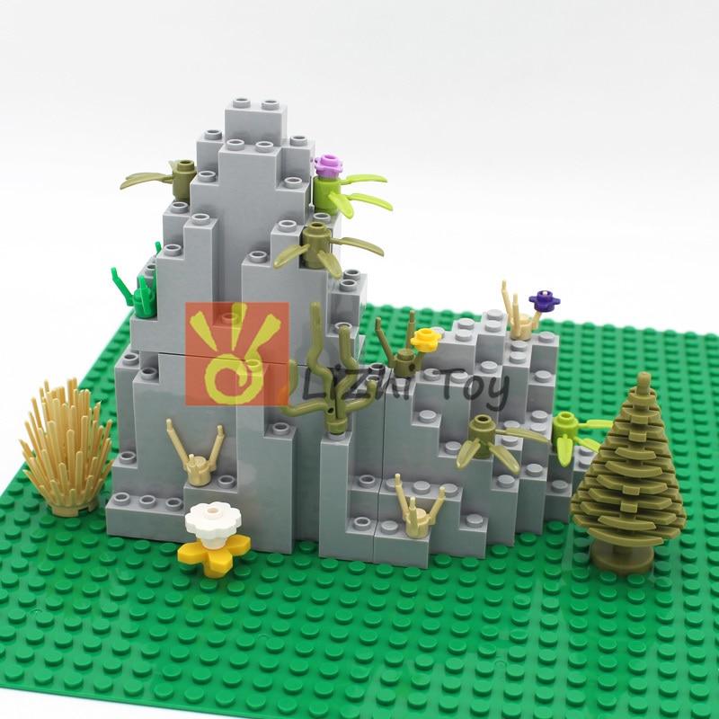 MOC Bricks Castle Mountain Rock Panel Rectangular DIY Enlighten Building Blocks Educational Kid Toys Compatible With All Brands
