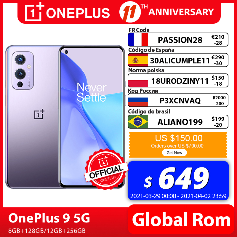 OnePlus 9 5G Smartphone Rom Global Snapdragon 888 8 go 128 go 6 5 pouces fluide