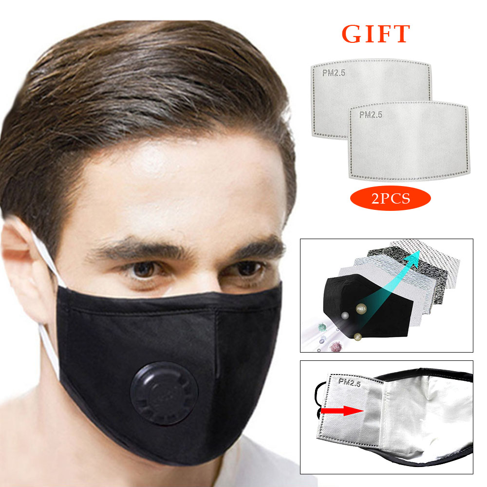 Unisex Cotton Breath Valve PM2.5 Mouth Mask Anti-Dust Anti Pollution Mask Cloth Activated Carbon Filter Respirator