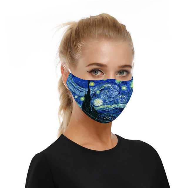 The Starry Night Printing Reusable Protective PM2.5 Filter Mouth Mask Anti Dust Face Mask Mouth-muffle Bacteria Proof Flu Mask 1