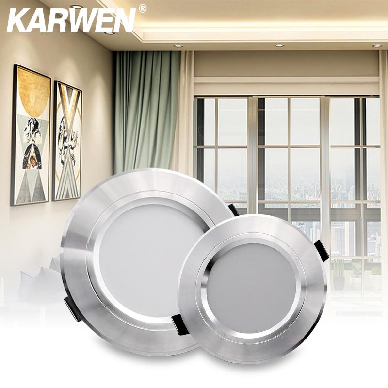 KARWEN LED Downlight AC 220V 230V 240V Silver Body Ceiling light 5W 9W 12W 15W 18W Led spotlight for living room