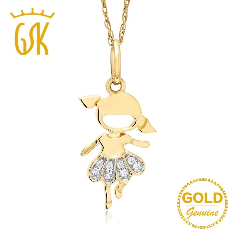 Gemstoneking 10k Yellow Gold Necklace Natural White Diamond Little Girl Shape Pendant Necklace Fine Jewelry Pendants Aliexpress