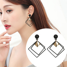 Personality Alloy Geometric Drop Earrings Korean Wild Sequins Dangle Earring For Women Female Elegant Statement Fashion Jewelry alloy sequins drop earrings