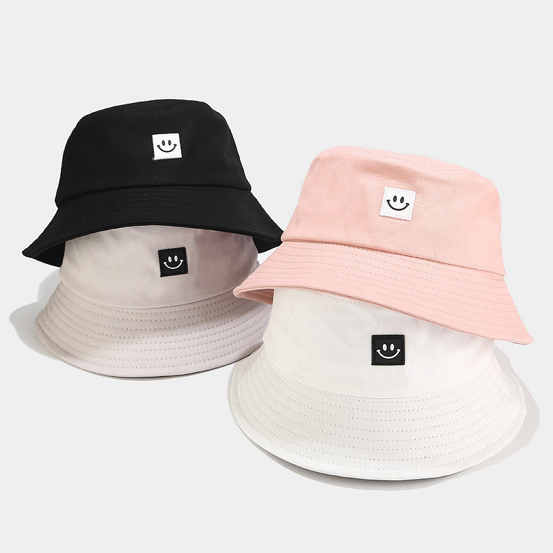 Fashion Women Bucket Hat New Candy Colors Smile Face Sun Hat Outdoor Sports Travel Beach Caps Fishermen Hats Hip Hop Female Cap