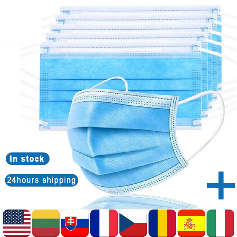 IN STOCK 10/20/50/100 Pcs Face Mask Disposable 3 Layer Non Woven Mouth Masks Earloop For Adults