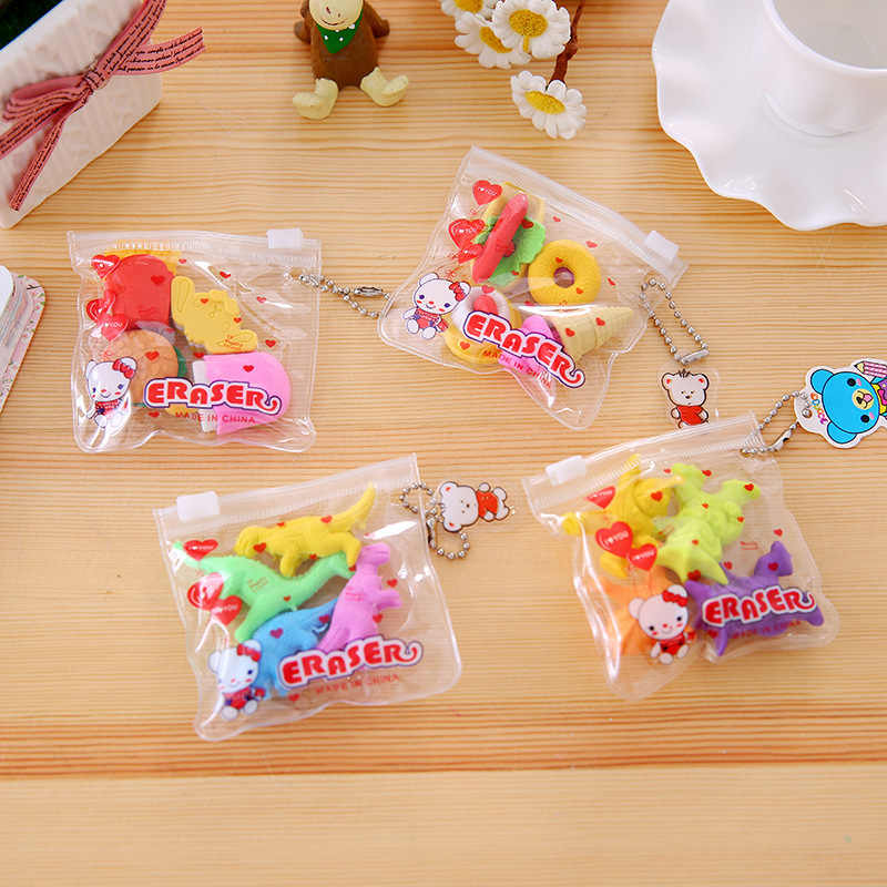 1Set Kawaii Eraser Cartoon Food Animal Special Shape Eraser Set Cute Stationery Student Gifts Children Toy School Supplies