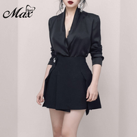 Max Spri 2019 New Woman 2 Piece Sets V Neck Long Sleeve Button A Line Mini Skirt Office Lady Party Dress Black