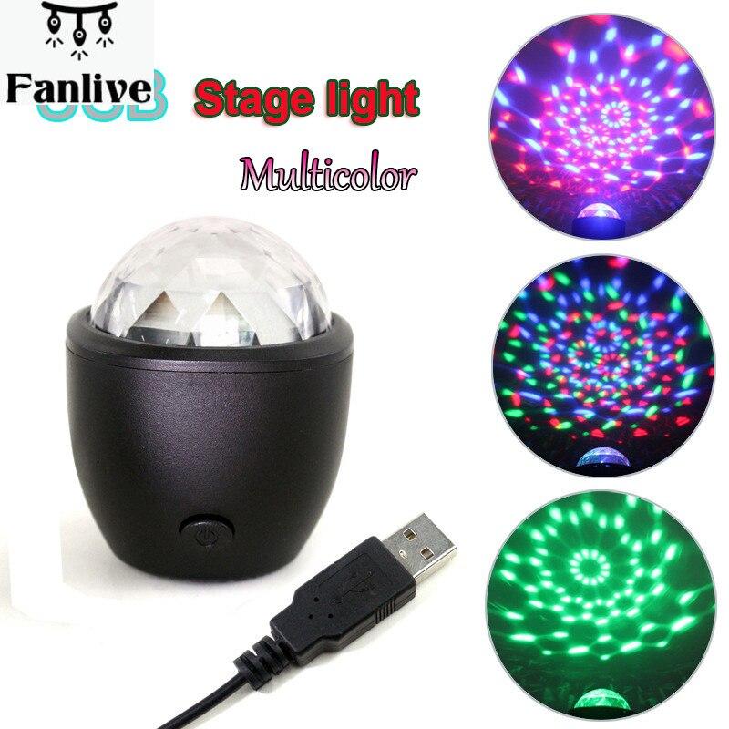 20 stücke Mini Bühne Licht 3W USB Powered Sound Actived Multicolor Disco Ball Magische Wirkung Lampe für Geburtstag Party konzert etc