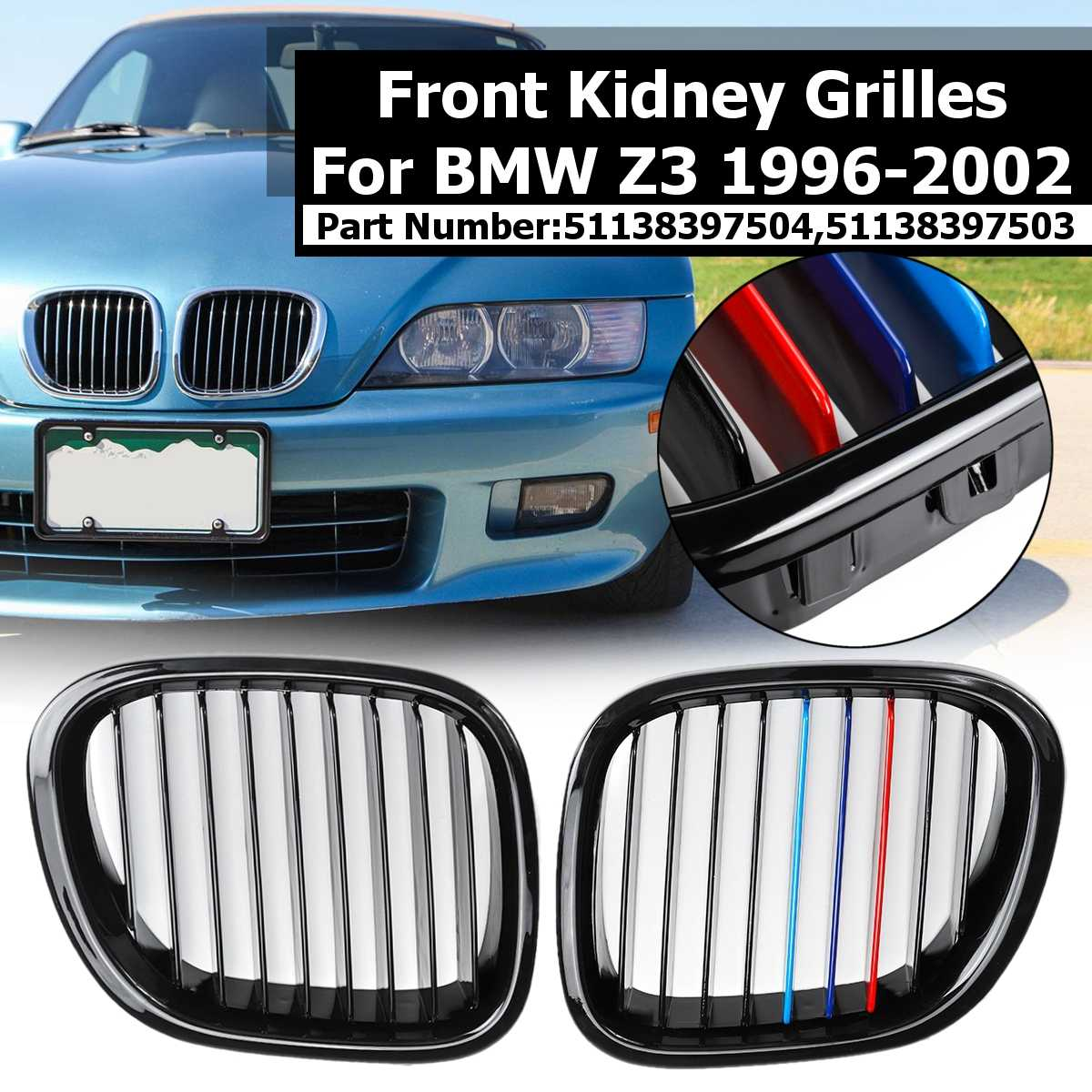 1 Pair Glossy Black&M-Color Car Front Kidney Grilles For BMW Z3 1996 1997 1998 1999 2000 2001 2002 Replacement Racing Grilles