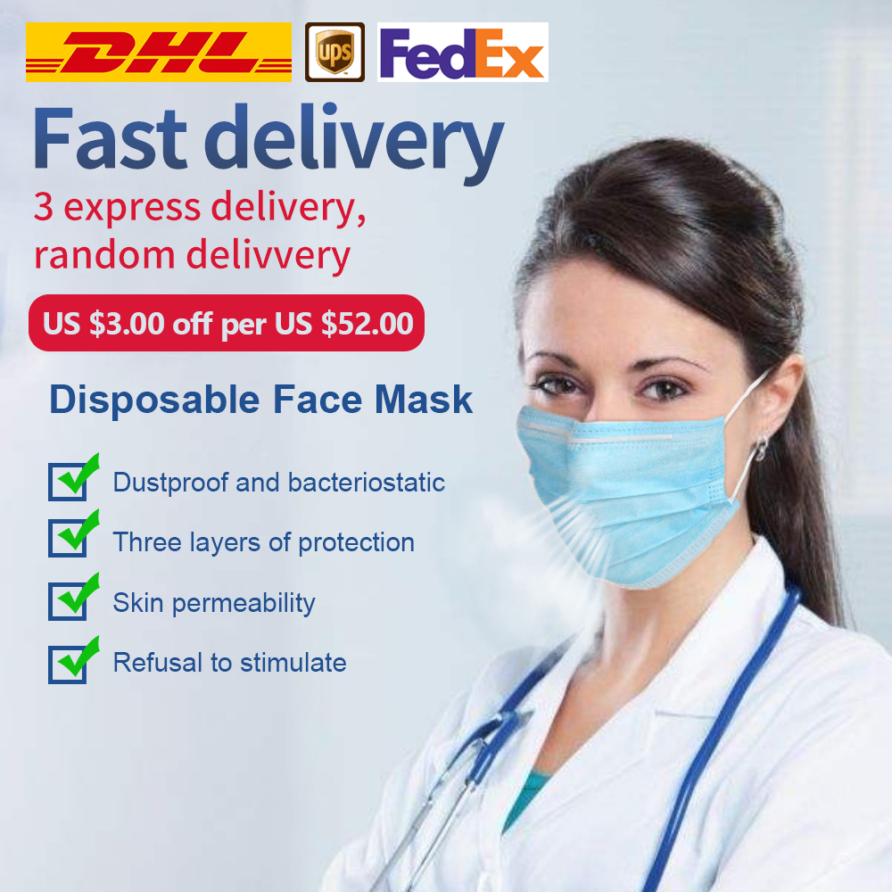Face Mask Disposable Face Masks 3-ply Safely Mouth Mask 50pcs Pm2.5 Apply To Adult Dust Filter Masque
