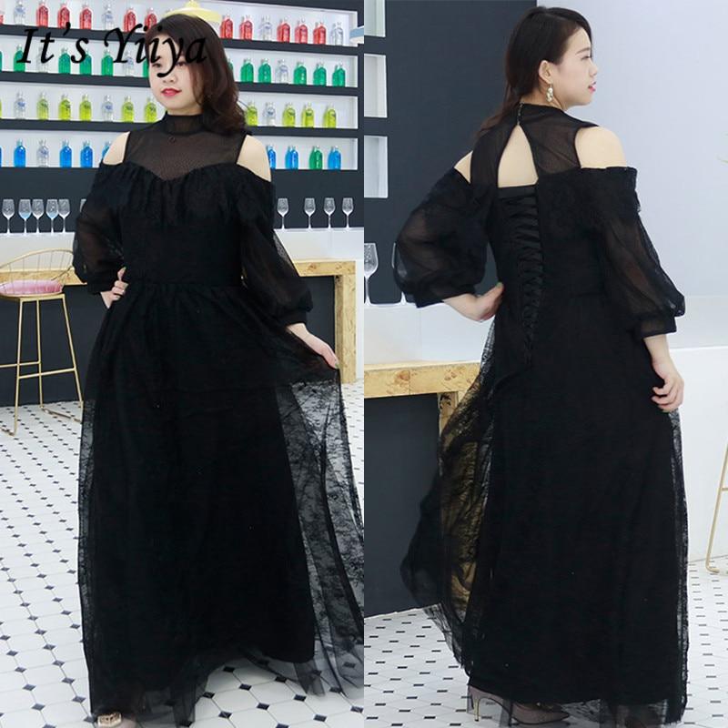 It's Yiiya Formal Dress Black Floor-Length Robe De Soiree DX034 Plus Size Lace Three Quarter Sleeve Dress Woman Party