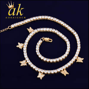 Gold Color Butterfly Pendant 4mm 1 Row Tennis Chain Necklace Hip Hop Jewelry Men Women