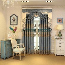 High Quality European Style Chenille Thick Embroidered Curtains for Living Room Bedroom Custom Window Coverings