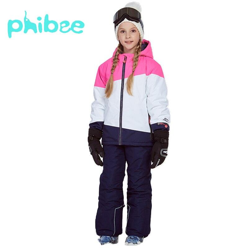 Phibee costume d'hiver pour fille enfants vêtements Ski costume chaud étanche coupe vent Snowboard ensembles hiver veste enfants vêtements