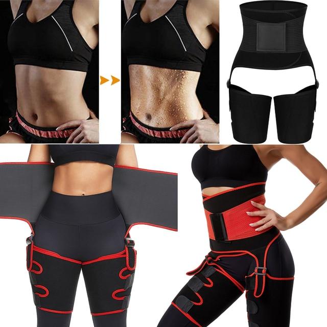 Women High Waist Thigh Trimmer Neoprene Sweat Shapewear Slimming Leg Body Shapers Adjustable Waist Trainer Slimming Belt 1