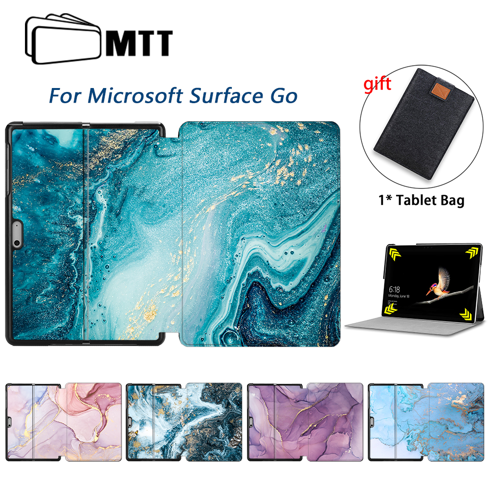 MTT Tablet Case For Microsoft Surface Go 10 inch Ultra Slim PU Leather Flip Stand Cover 10'' Marble Protective Shell Funda