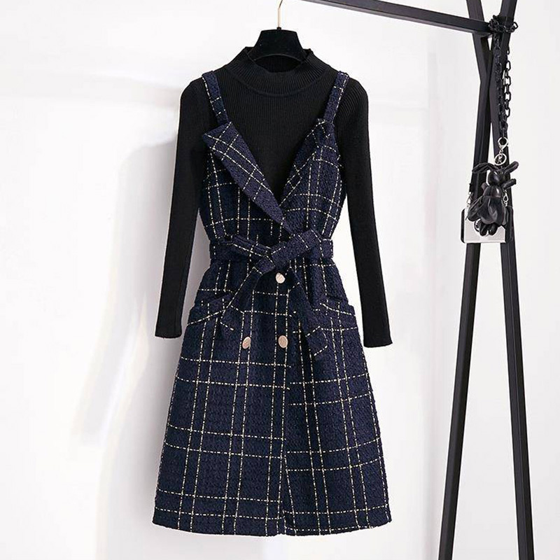 High Quality Autumn Winter Fashion Double-breasted Spaghetti Strap V-Neck Plaid Tweed Party Dress Set 2PCS Matching Set Women