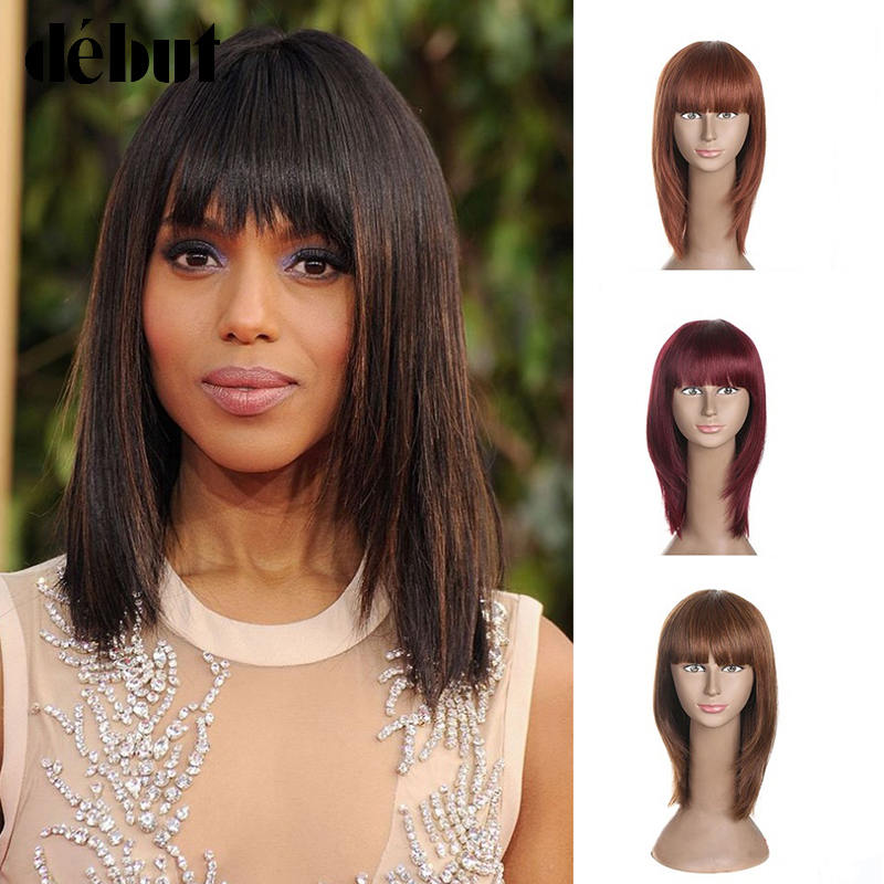 Debut Bob Human Hair Wigs With Bangs For Black Women Medium Length Straight Remy Hair Wigs Bob Hairstyle Cosplay Wigs Women