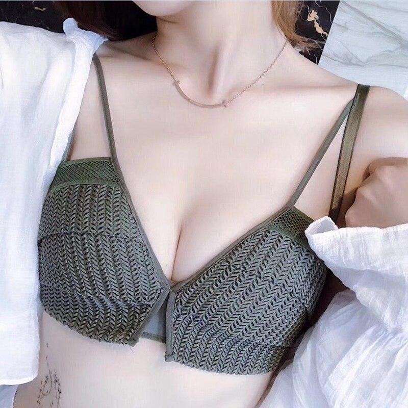Women Sexy Lace Wireless Padded Seamless Bra Cotton Lingerie Breathable Underwear Wireless Padding Plunge Sexy Bras