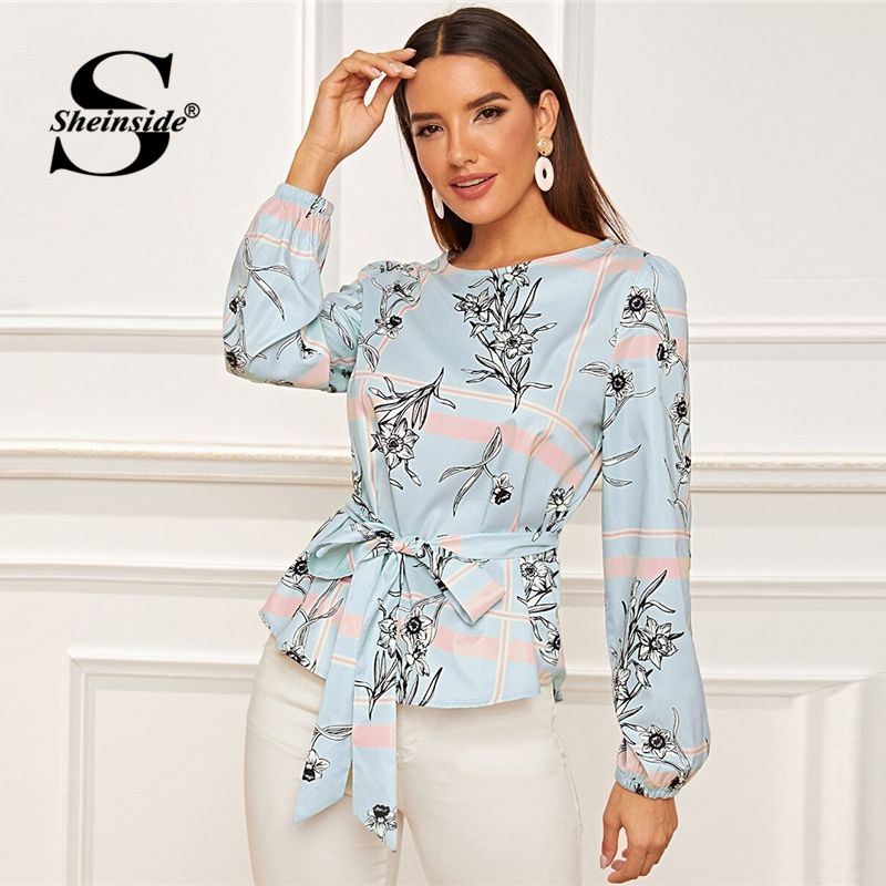 Sheinside Elegant Floral Print Trim Blouse Women 2019 Autumn Bishop Sleeve Blouses Office Ladies Belted Flared Hem Top