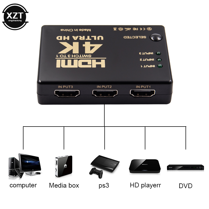 Caixa ultra hd do divisor do seletor 3x1 do porto 4k * 2k 1080p do interruptor 3 do switcher de hdmi para o adaptador ps3 ps4 dos multimédios do dvi do pc dvd hdtv xbox
