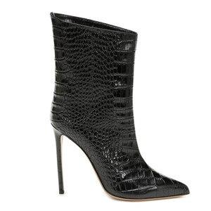 Image 4 - Mstacchi女性冬のパテントレザーブーツ女性ポインテッドトゥシンハイヒールの靴レディースセクシーなメタルゴールデンのための女性