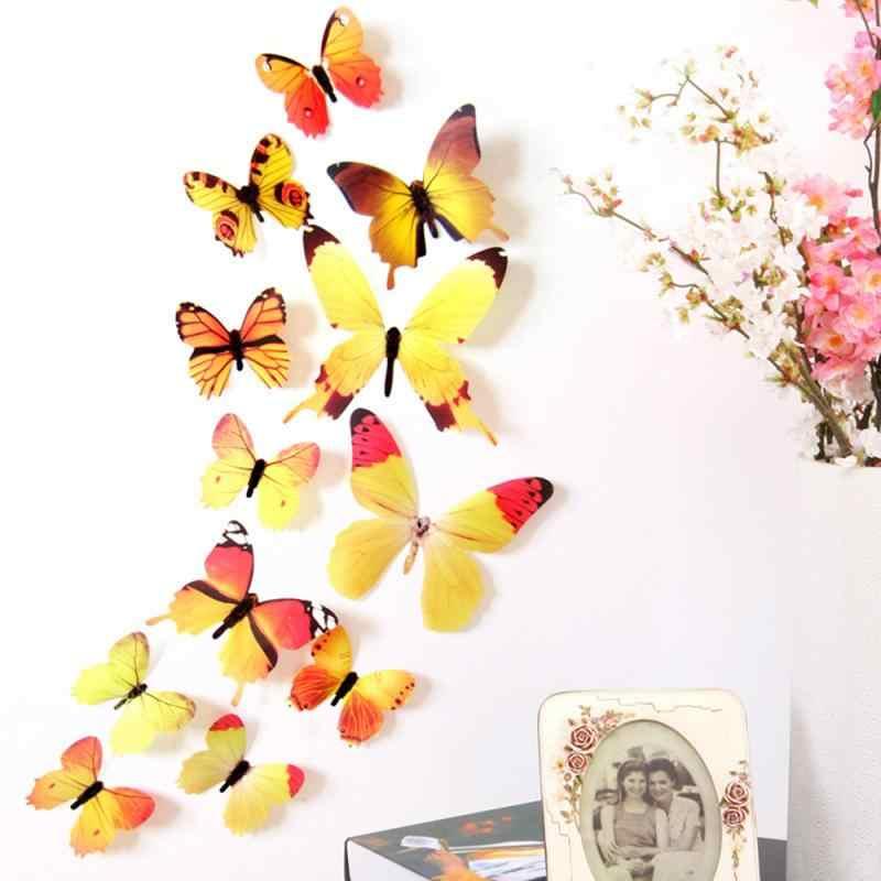 12 adet/torba 3D kelebek duvar çıkartmaları PVC simülasyon kelebek düğün odası dekorasyon TV arka plan oturma odası süslemeleri