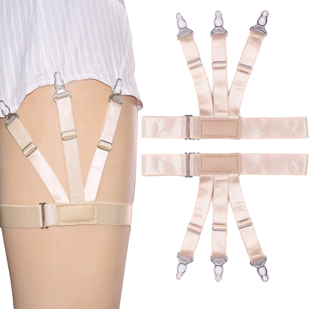 Mens Shirt Stays Adjustable Elastic Shirt Holders Straps Garters Suspenders With Non-Slip Clips For Women Men Formal Wear