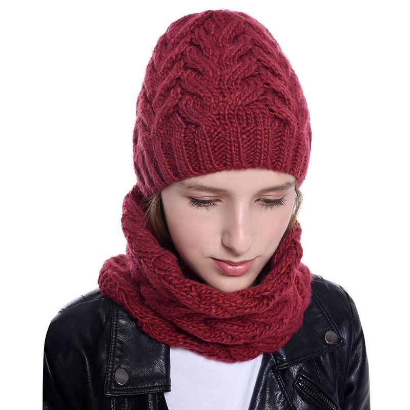 Winter Hat And Scarf For Women Winter Warm Cap Scarves Set Knitted Cap Set Woman Girls Caps Set Girls Hat And Scarf WH109D