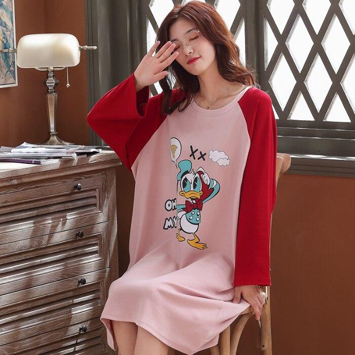 WAVMIT 2019 Autumn Women's Long Cotton Pijamas Home Cloth Nightshirt Women Causal Sleepwear Loose Ladies Nightgown Women Dress