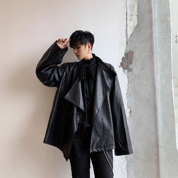 Male Women Streetwear Hip Hop Punk Gothic Faux Fur Coat Outerwear Men Vintage Fashion Loose Casual Leather Jacket