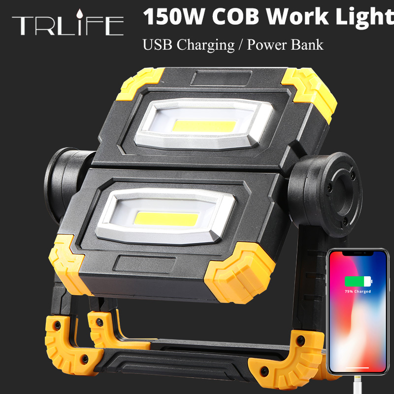 150W LED Work Light USB Rechargeable 5200mAh Outdoor Portable Searchlight Camping Light COB Anti-fall Flood Campe Spotlight