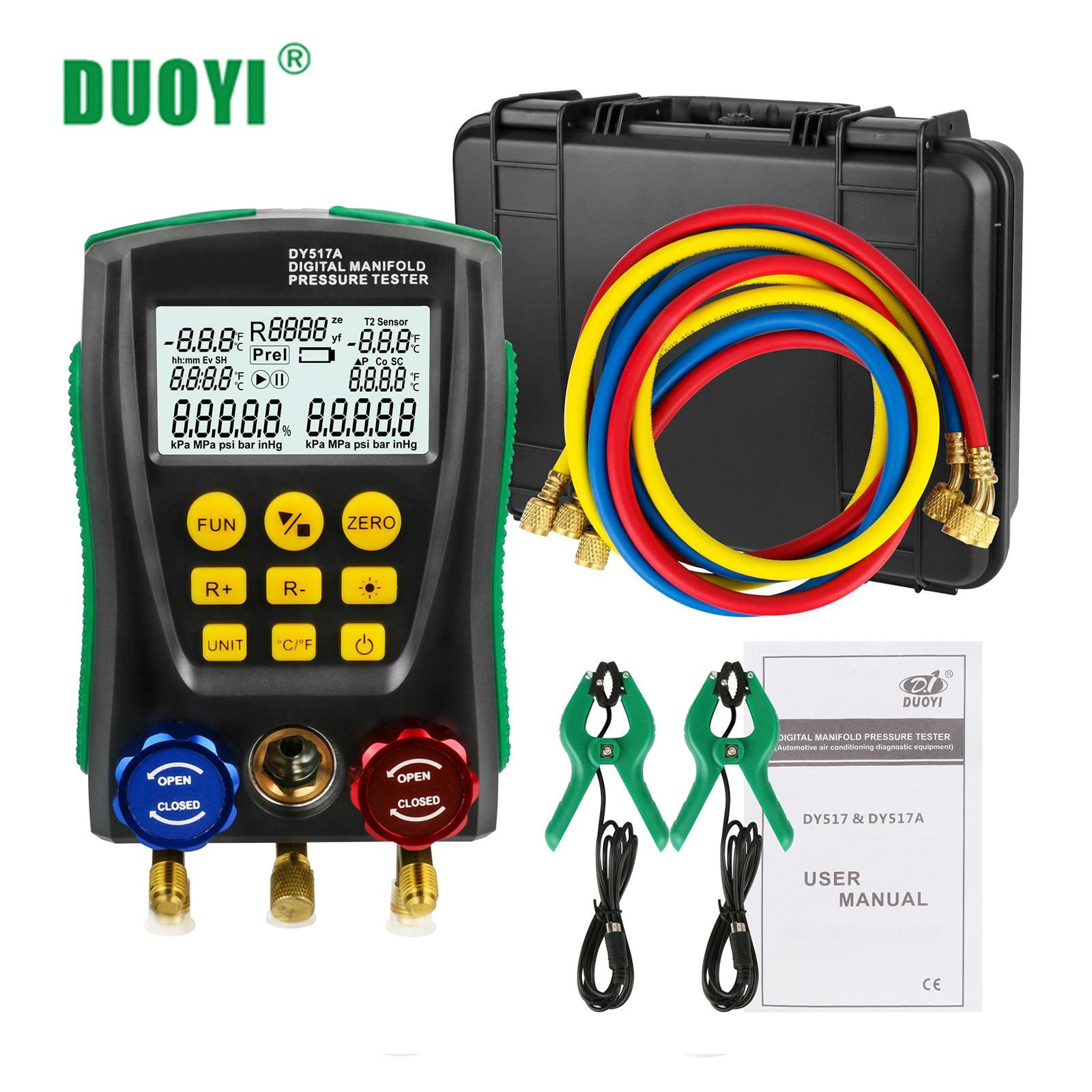 Duoyi refrigeração digital coletor conjunto de manômetro pressão a vácuo medidor de temperatura teste ar-condicionado pk testo 550