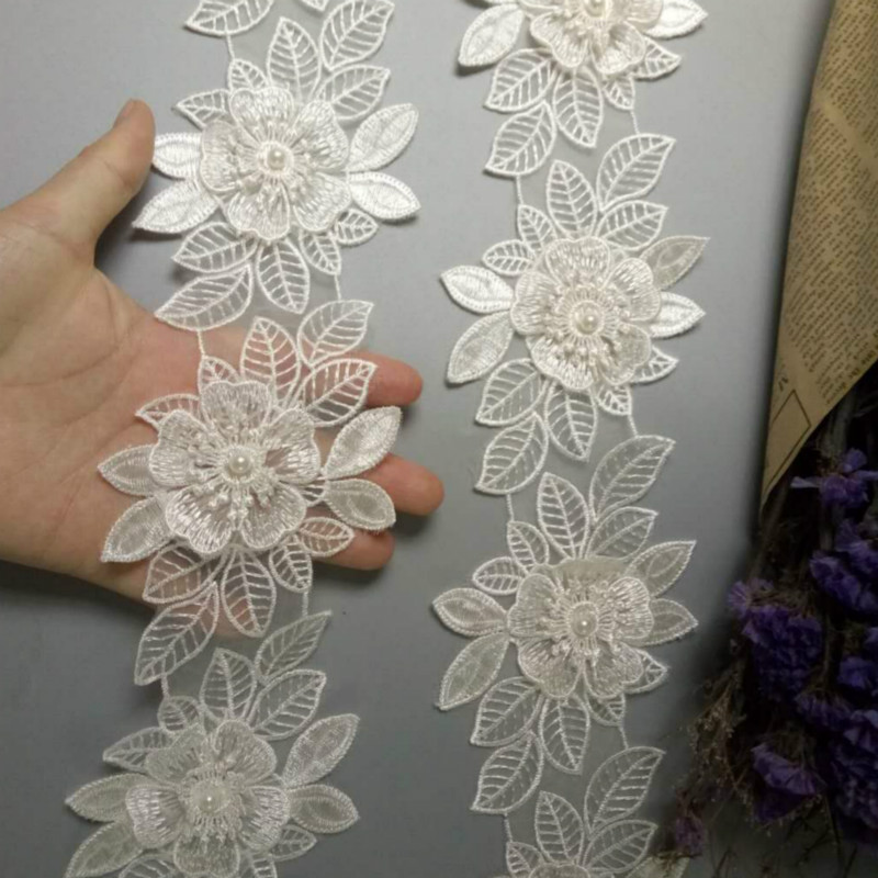 3m Flower Embroidered Lace Edge Trim Ribbon Wedding Applique DIY Sewing Craft