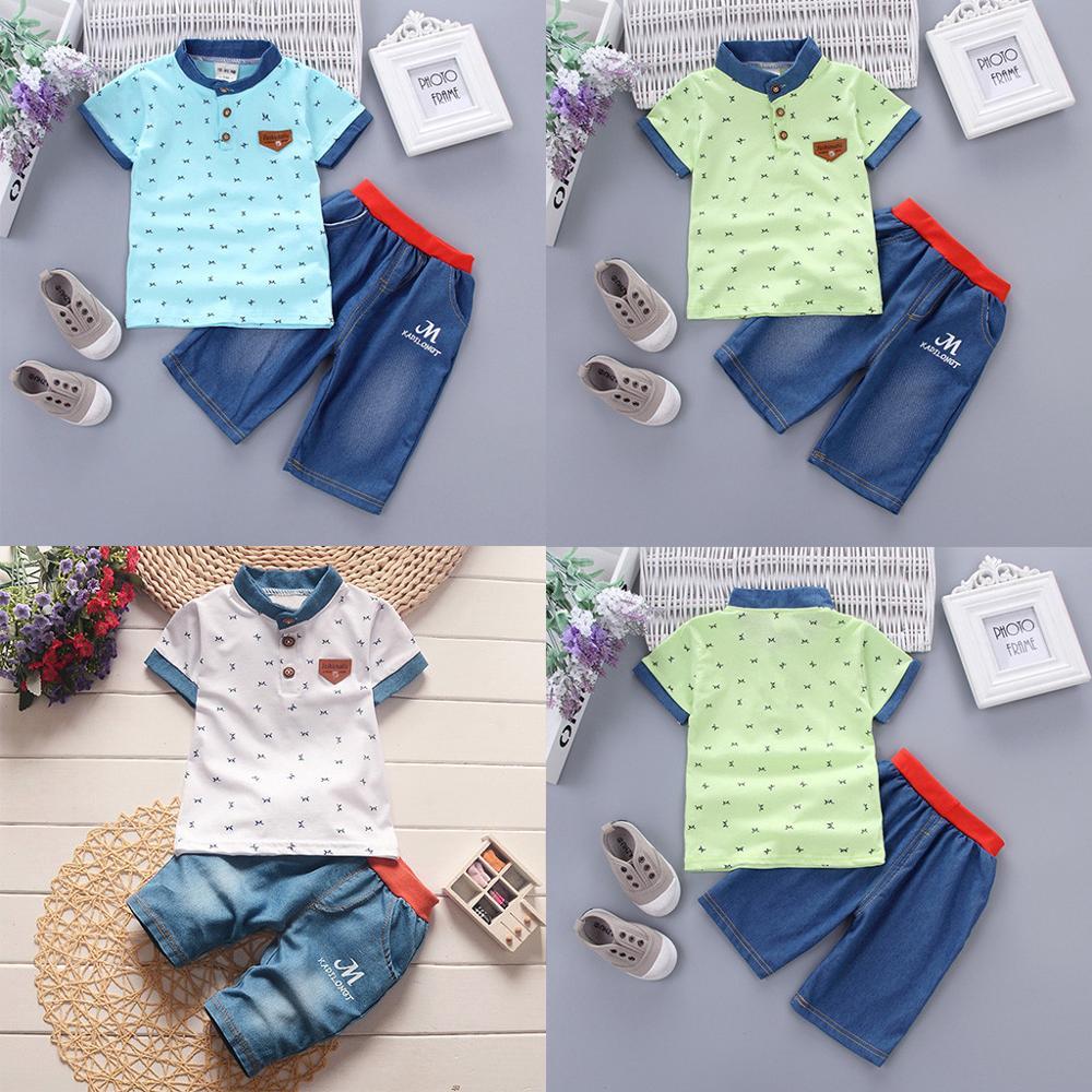 Zomer 2 STUKS Peuter Baby Boy Kids Korte Mouwen Kleding Sets T-shirt En Shorts Outfits Baby jongens шорты детские