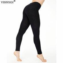 VISNXGI Women Fitness Leggings High Waist Sport Push Up Pure Black Femme Workout Stripe Grid Cartoon Elastic Breathable Legging