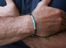 Pulseira onyx preto, turquesa africana, pulseira empilhável, pulseira mala, pulseira de estiramento masculino