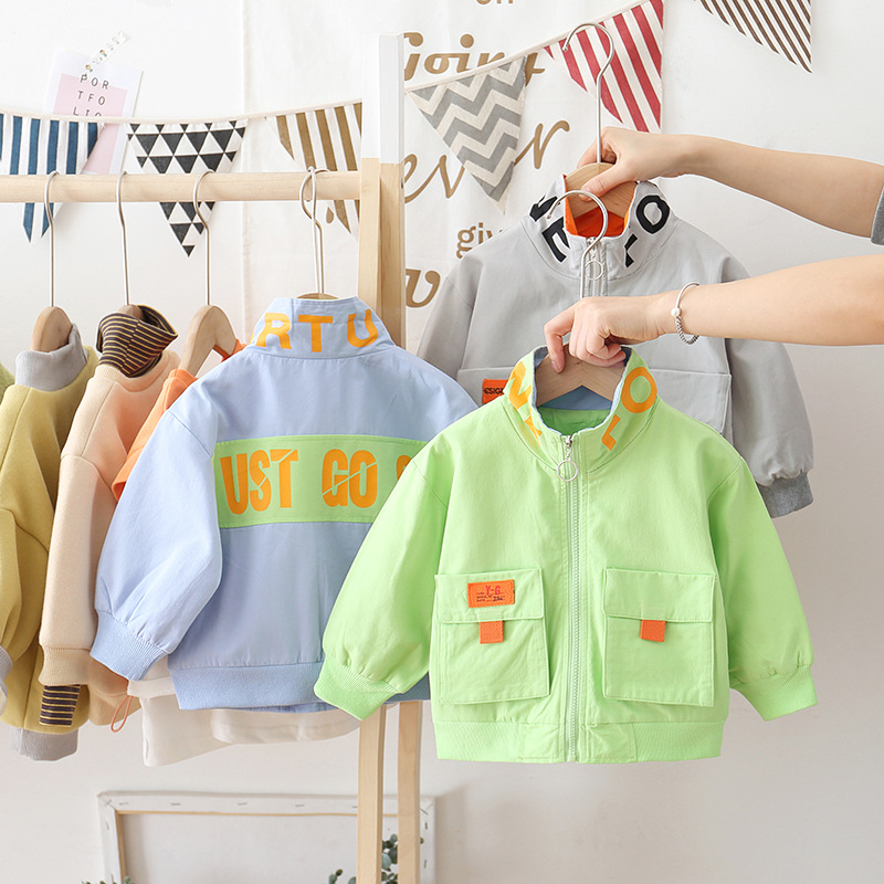 Childrenswear 2020 Korean-style Spring And Autumn New Products Children Pocket English Lettered Stand Collar Zip-up Jacket Singl